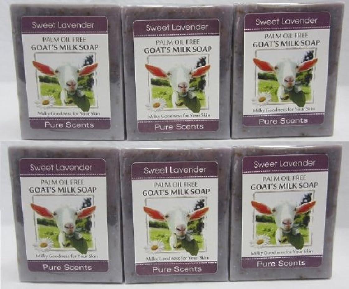 内側パリティ被害者【Pure Scents】Goat's Milk Soap ヤギのミルクせっけん 6個セット Sweet Lavender スイートラベンダー
