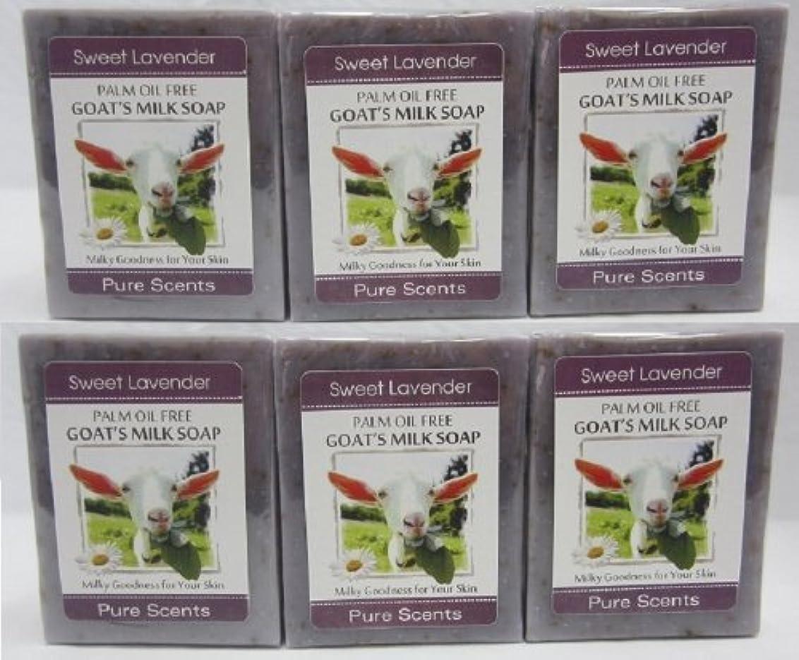 唯物論発行するライター【Pure Scents】Goat's Milk Soap ヤギのミルクせっけん 6個セット Sweet Lavender スイートラベンダー