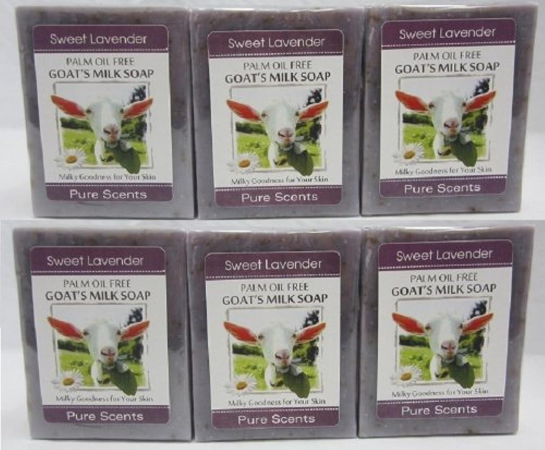 アンタゴニストあまりにもラグ【Pure Scents】Goat's Milk Soap ヤギのミルクせっけん 6個セット Sweet Lavender スイートラベンダー