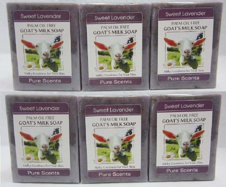 バンドル不道徳一人で【Pure Scents】Goat's Milk Soap ヤギのミルクせっけん 6個セット Sweet Lavender スイートラベンダー
