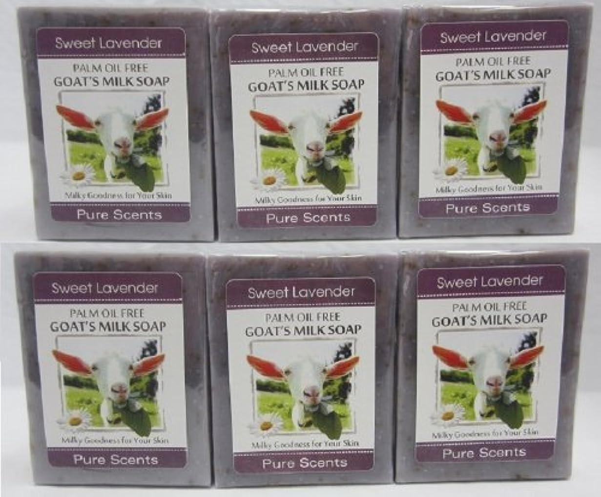 選択学士冗長【Pure Scents】Goat's Milk Soap ヤギのミルクせっけん 6個セット Sweet Lavender スイートラベンダー