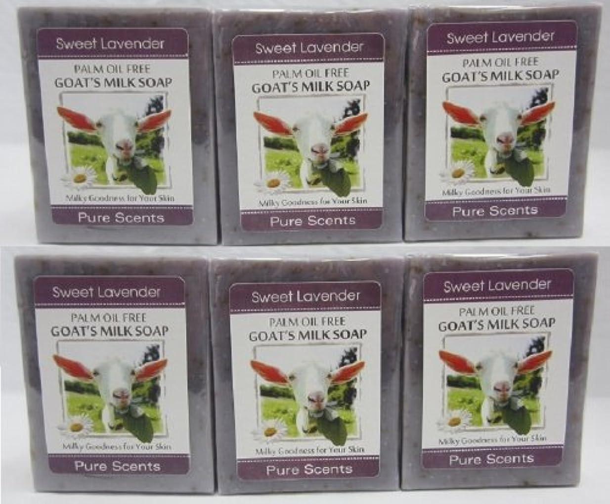 硬化する下向き被害者【Pure Scents】Goat's Milk Soap ヤギのミルクせっけん 6個セット Sweet Lavender スイートラベンダー