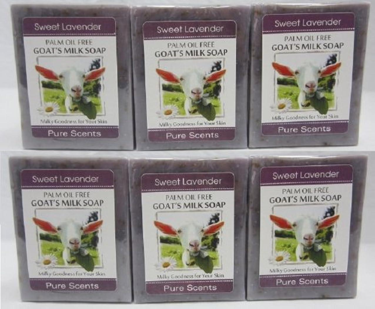 目覚めるトースト契約【Pure Scents】Goat's Milk Soap ヤギのミルクせっけん 6個セット Sweet Lavender スイートラベンダー