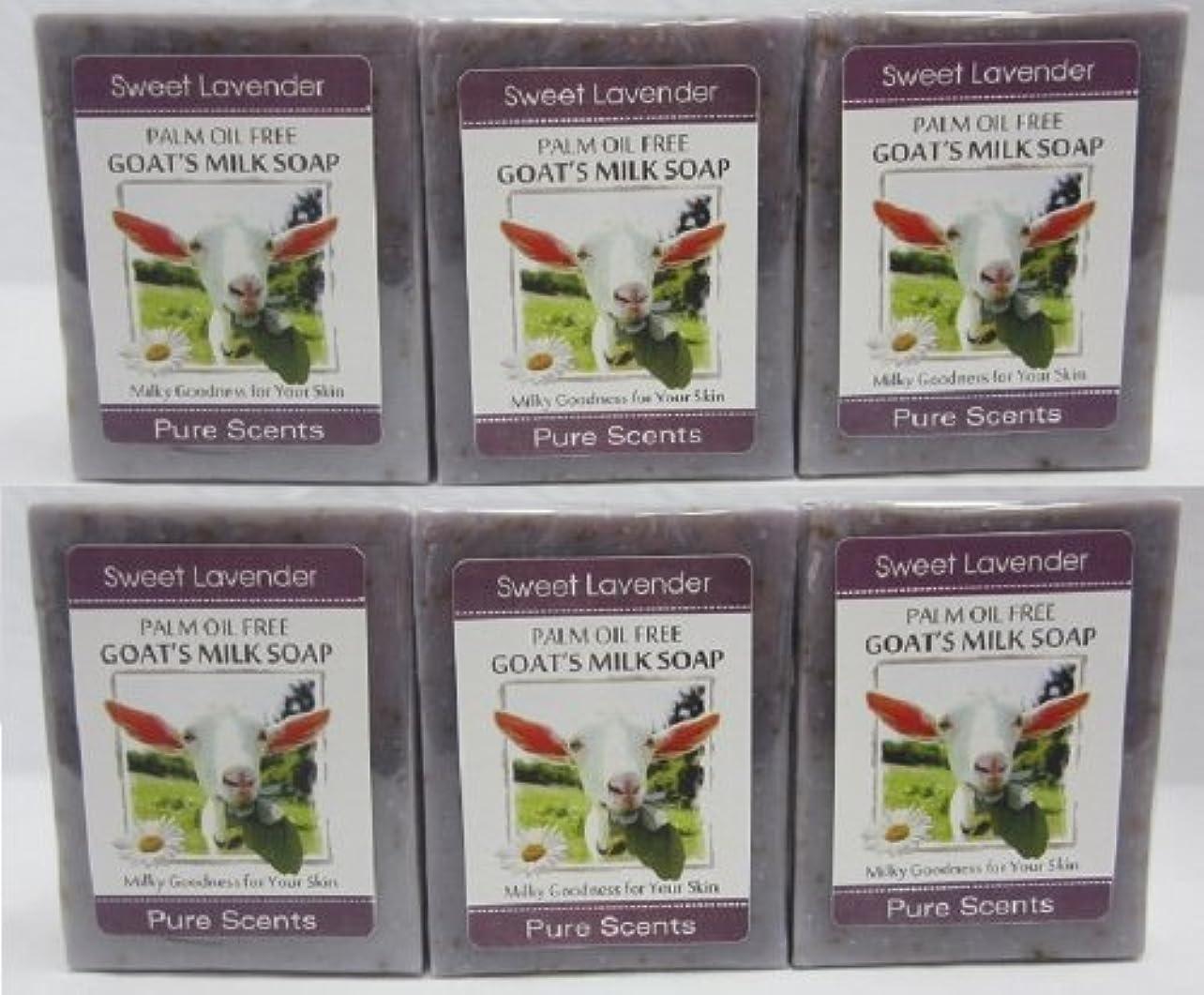 たっぷり減らすメロディー【Pure Scents】Goat's Milk Soap ヤギのミルクせっけん 6個セット Sweet Lavender スイートラベンダー