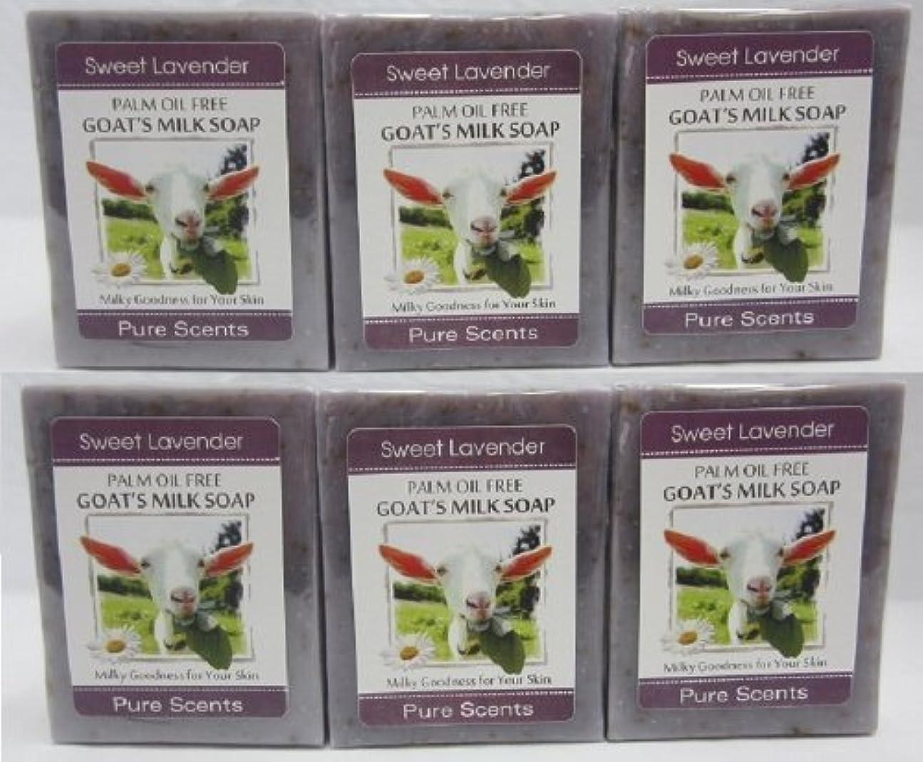 シリンダー精査するブランク【Pure Scents】Goat's Milk Soap ヤギのミルクせっけん 6個セット Sweet Lavender スイートラベンダー