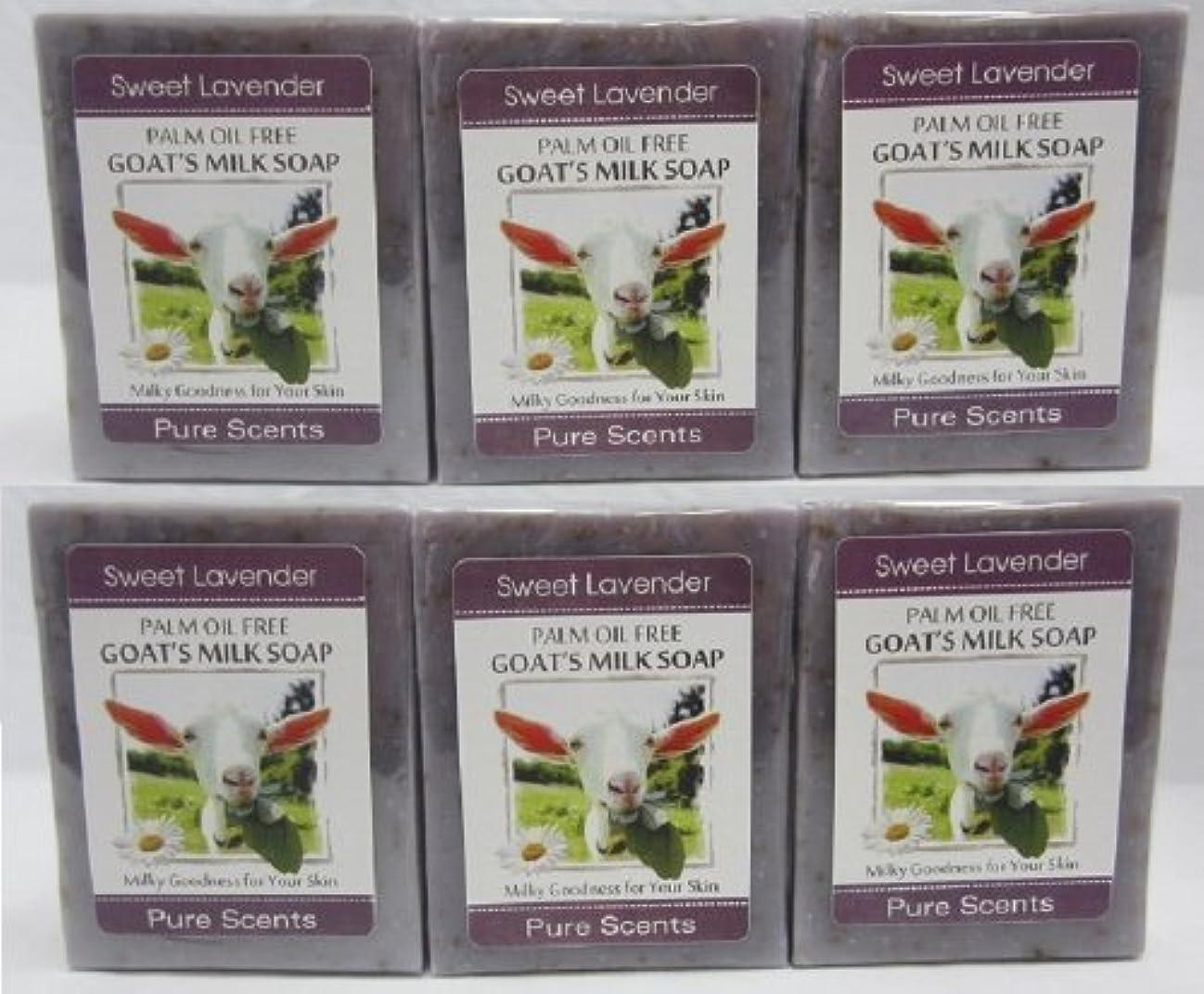 晴れリブ人気の【Pure Scents】Goat's Milk Soap ヤギのミルクせっけん 6個セット Sweet Lavender スイートラベンダー