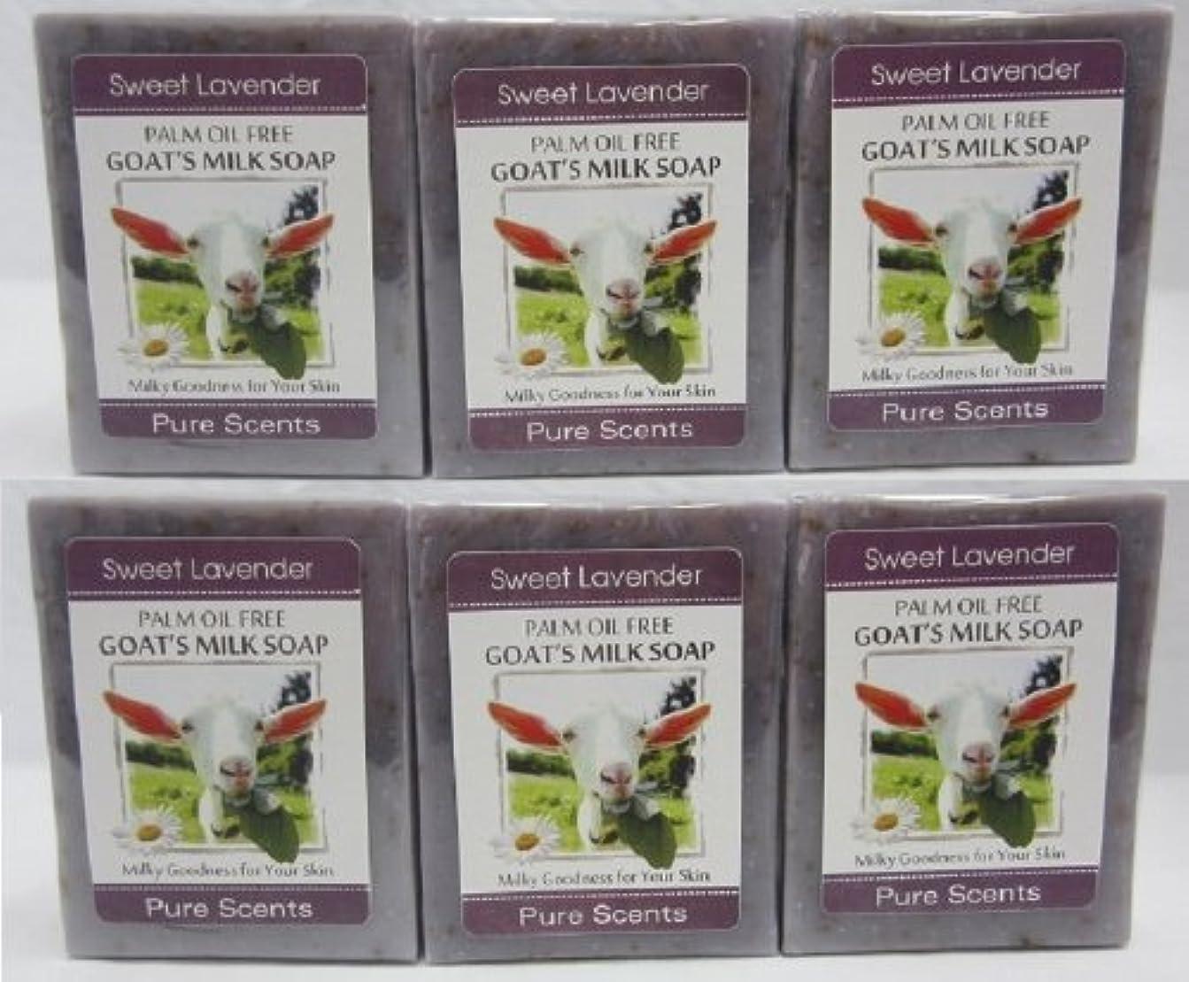 パン批判的に初心者【Pure Scents】Goat's Milk Soap ヤギのミルクせっけん 6個セット Sweet Lavender スイートラベンダー