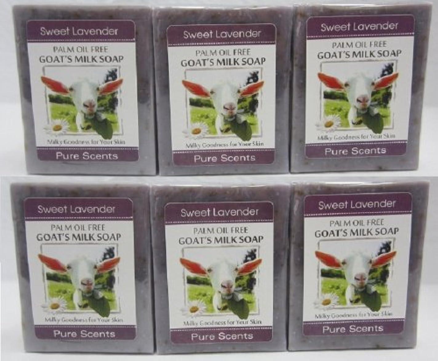 野心虎手伝う【Pure Scents】Goat's Milk Soap ヤギのミルクせっけん 6個セット Sweet Lavender スイートラベンダー