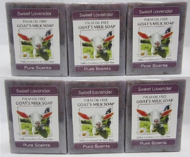 クリップ蝶剛性国【Pure Scents】Goat's Milk Soap ヤギのミルクせっけん 6個セット Sweet Lavender スイートラベンダー