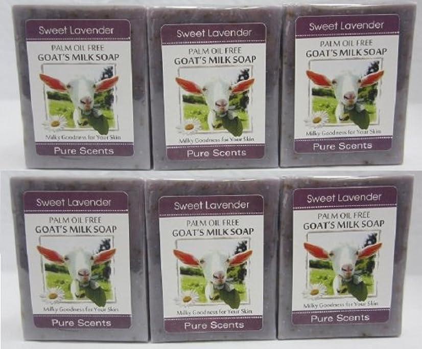 チューブしないでくださいいま【Pure Scents】Goat's Milk Soap ヤギのミルクせっけん 6個セット Sweet Lavender スイートラベンダー