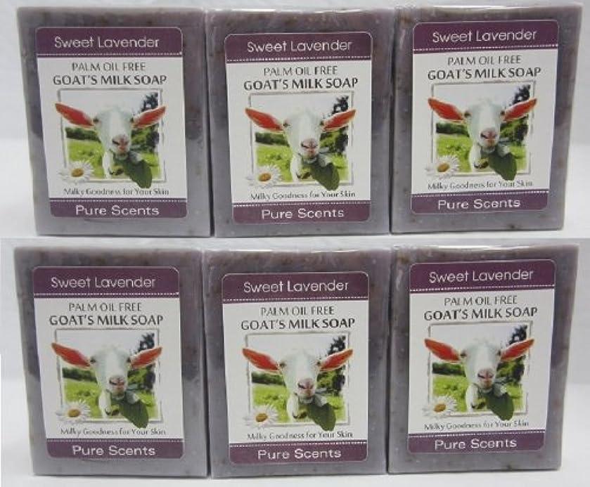 注文プランテーション湿度【Pure Scents】Goat's Milk Soap ヤギのミルクせっけん 6個セット Sweet Lavender スイートラベンダー