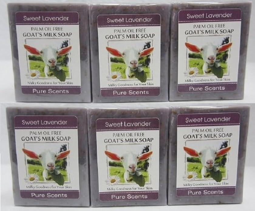 結核請求可能ヘッジ【Pure Scents】Goat's Milk Soap ヤギのミルクせっけん 6個セット Sweet Lavender スイートラベンダー