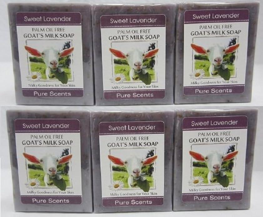 許容できるパトロール機構【Pure Scents】Goat's Milk Soap ヤギのミルクせっけん 6個セット Sweet Lavender スイートラベンダー