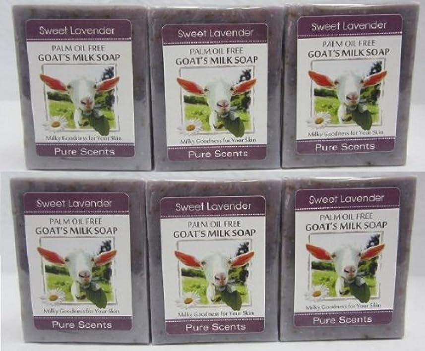 のりリゾートフィードバック【Pure Scents】Goat's Milk Soap ヤギのミルクせっけん 6個セット Sweet Lavender スイートラベンダー