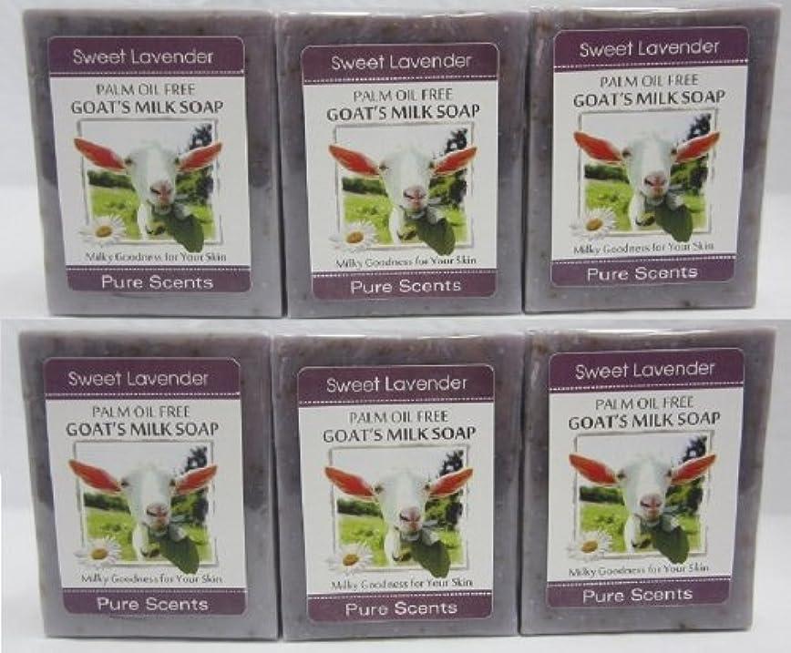 闇コマンドカート【Pure Scents】Goat's Milk Soap ヤギのミルクせっけん 6個セット Sweet Lavender スイートラベンダー