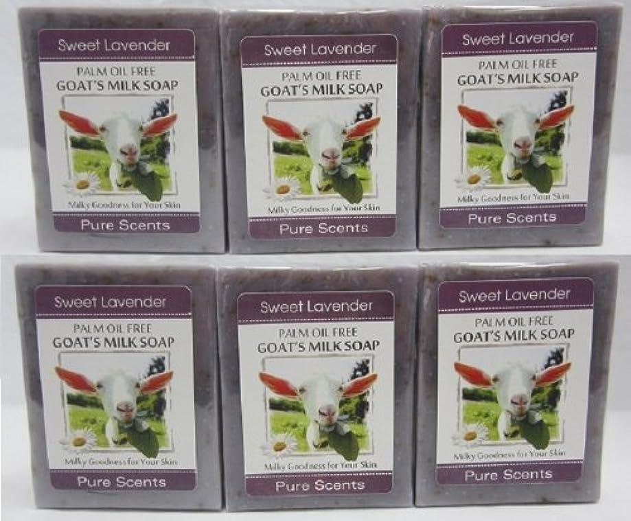 オーバーヘッドインストラクター冒険家【Pure Scents】Goat's Milk Soap ヤギのミルクせっけん 6個セット Sweet Lavender スイートラベンダー
