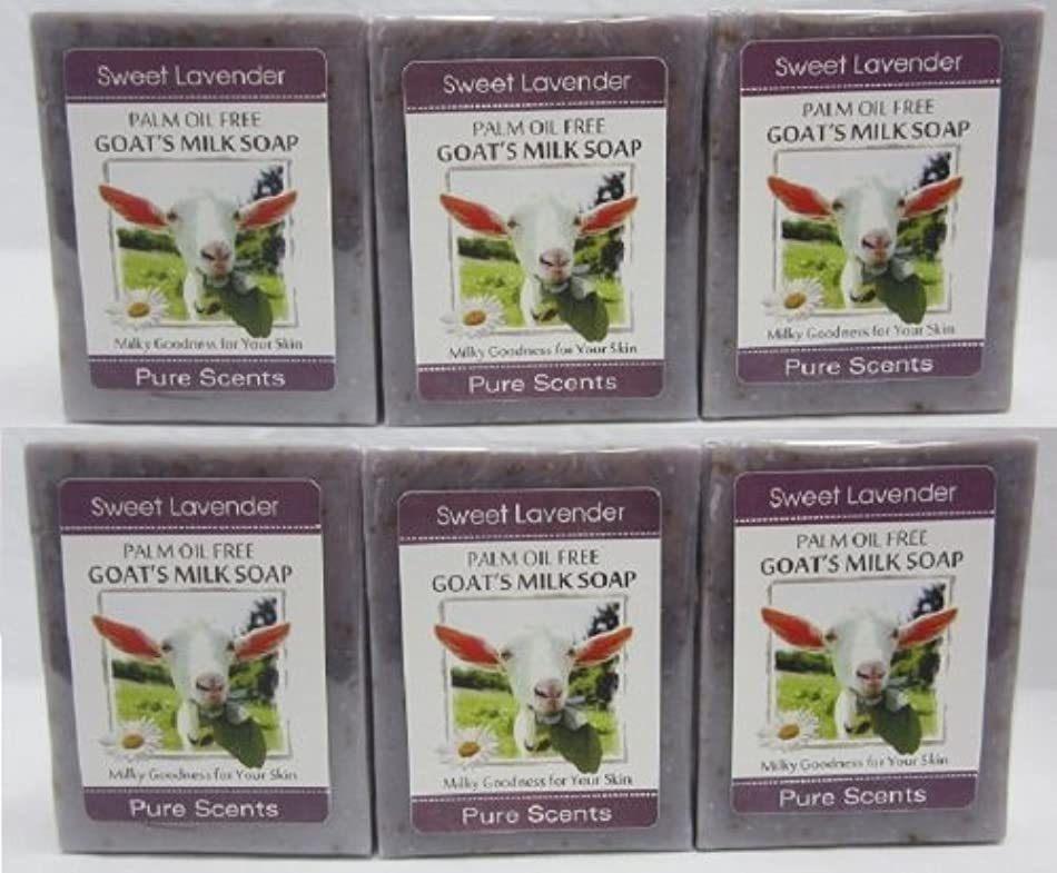 ウイルス領事館退却【Pure Scents】Goat's Milk Soap ヤギのミルクせっけん 6個セット Sweet Lavender スイートラベンダー
