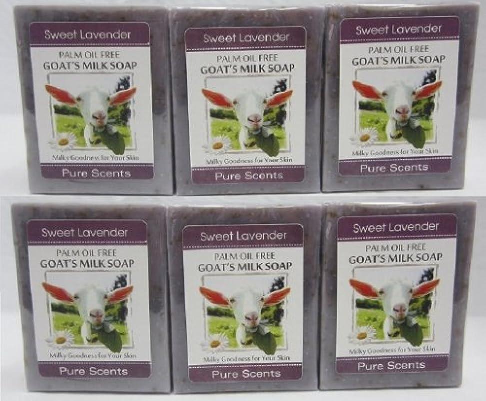 第二に糞思いつく【Pure Scents】Goat's Milk Soap ヤギのミルクせっけん 6個セット Sweet Lavender スイートラベンダー