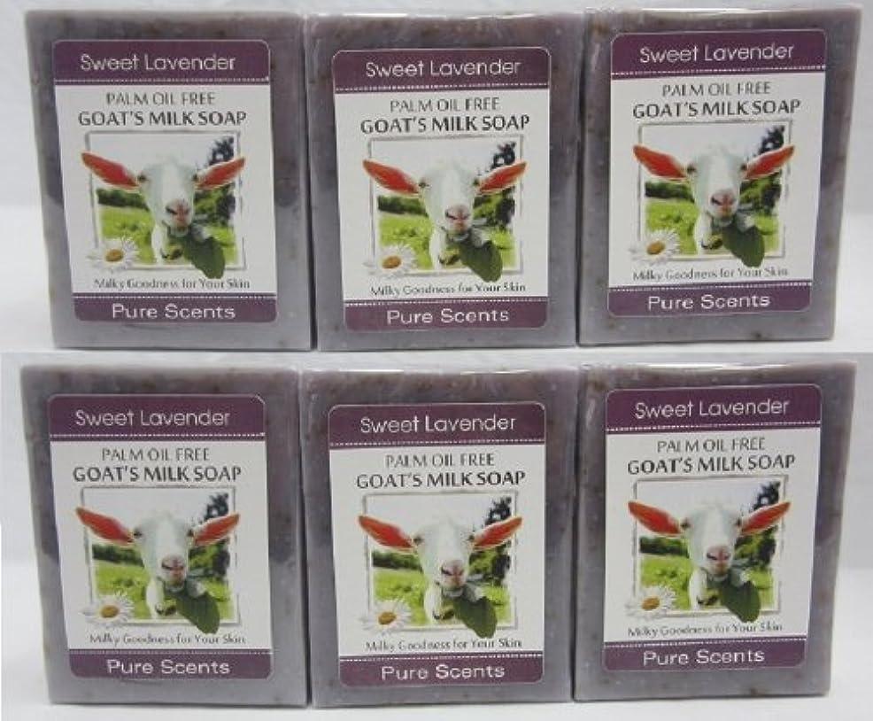 吸収賞中傷【Pure Scents】Goat's Milk Soap ヤギのミルクせっけん 6個セット Sweet Lavender スイートラベンダー