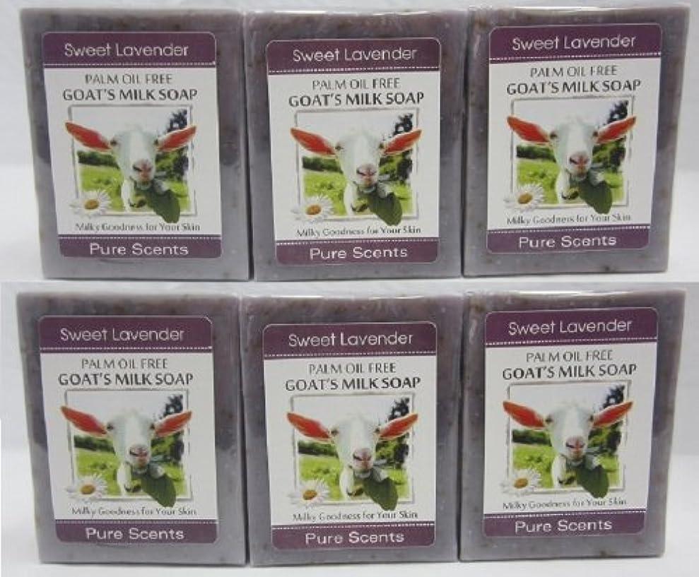 エリート無許可アシスタント【Pure Scents】Goat's Milk Soap ヤギのミルクせっけん 6個セット Sweet Lavender スイートラベンダー