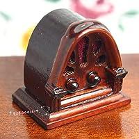 Bobominiworld Half Round Wooden Vintage Radio Dollhouse Miniatures Decoration 1:12 Scale Height 2.7cm Brown