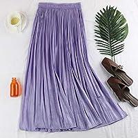 HJJUANAU Elastic Waist Pearl Pleated Skirt, Size: One Size(Purple) (Color : Purple, Size : One Size)