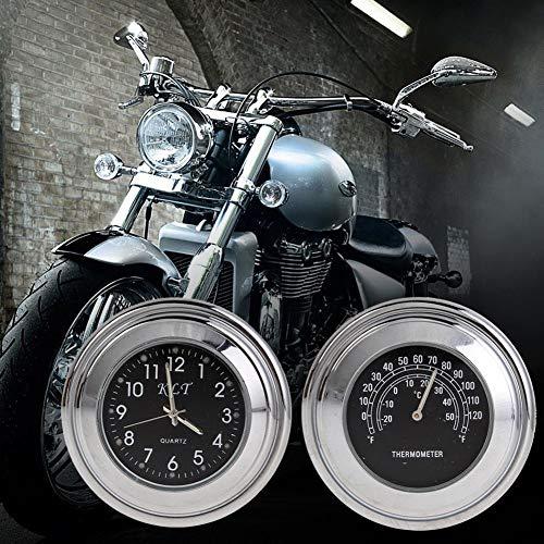 QJPhang Motorbike用品 バイクハンドル用 温度計 時計 2個 [並行輸入] 防水 軽量小型 可愛いデザイン 使用簡単(22mm~25mm 7/8~1インチハンドル適用) (黒文字盤)
