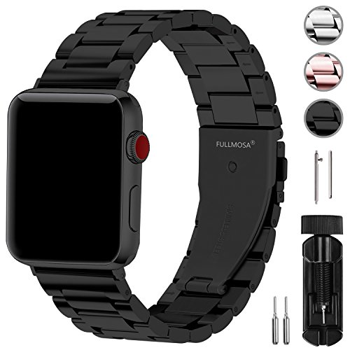 Apple Watch バンド42mm/44mm ステンレス, Fullmosa アップルウォッチバンド ブラック 42mm/44mm