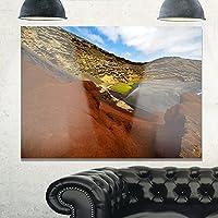 Design Art MT10753-20-12 ビンテージスタイル シーショア タイ エクストララージ シーケープ メタルウォールアート、ホワイト、20x12