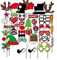 JAYSLE 50ピースクリスマスフォトブース小道具アクセサリークリスマスカーニバル家族パーティークリエイティブ面白い写真の小道具