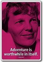 Amelia Earhart, Adventure Is Worthwhile In Itself - motivational inspirational quotes fridge magnet - 蜀キ阡オ蠎ォ逕ィ繝槭げ繝阪ャ繝