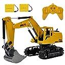 多機能 建設車両 ショベルカー ショベル RCブルドーザー 子供のおもちゃの車 掘削機ラジオコントロール 大きいサイズ (イエロー)