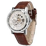 メンズ腕時計 機械式腕時計 手巻き スケルトンタイプ ウォッチ ブラウン+ホワイト+シルバー