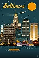 ボルチモア、メリーランド州–レトロSkyline 24 x 36 Signed Art Print LANT-48010-710