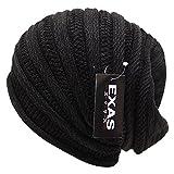 Amazon.co.jp(エクサス)EXAS ジャガードタックワッチ(最大約65cm 伸縮性大)(ニット帽 ニット帽子 ニットワッチ ビーニー) ブラックグレー