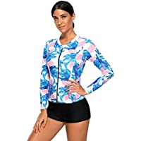 e0a49fd73f SherryDC Women s Zip Front Tropical Printed Long Sleeve Rash Guard Shirt  Swimming Surfing Athletic Top
