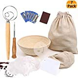 9 Inch Bread Proofing Basket, Professional Baking Tool 7 Pack Set Includes Banneton Proofing Basket,Cloth Liner,Bread Bag,Scoring Lame,Whisk,Scraper,Stencils for Professional and Home Baker