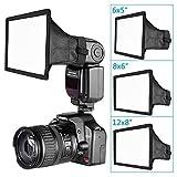 Neewer 3サイズ スピードライト/フラッシュディフューザー ライトソフトボックス 6x5inch、8x6inch、12x8inch キャリングケース付き Canon、Nikon、Neewer、Yongnuo、他のオンカメラ又はオフカメラのフラッシュに対応