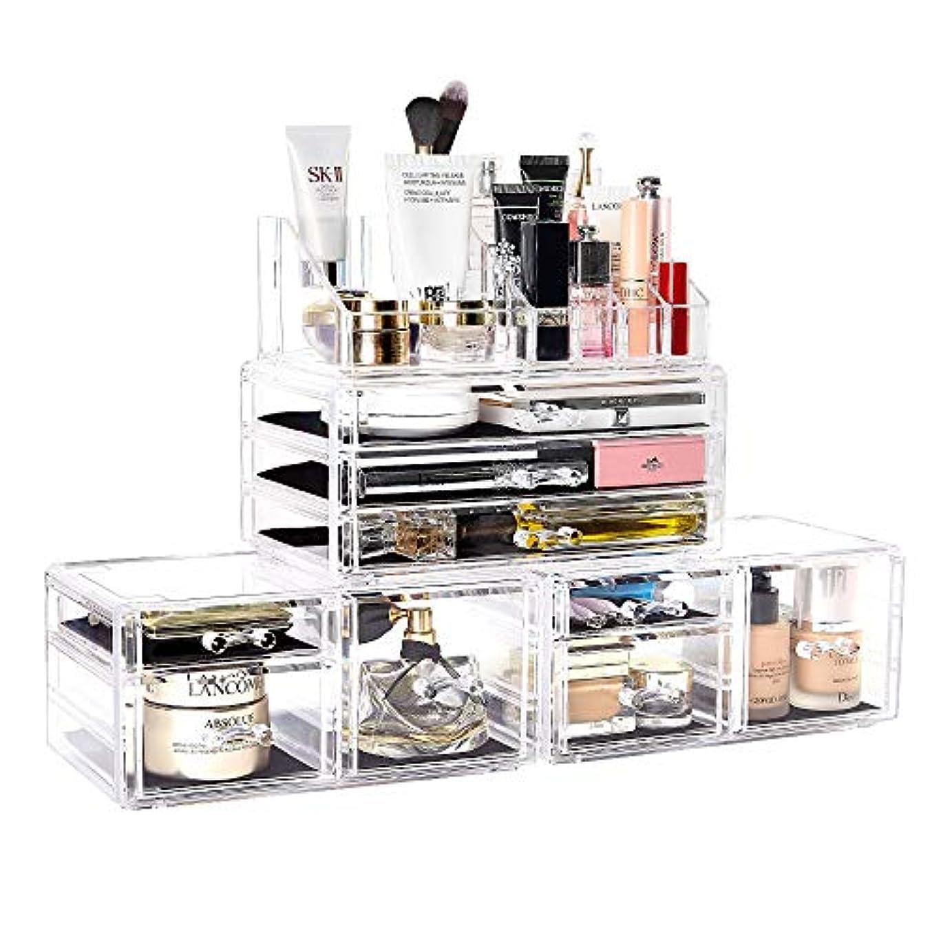 メイクボックス DreamGenius 化粧品収納ボックス 高级感 引き出し 小物/化粧品入れ メイクケース 小物 収納 透明アクリル 4段 プレゼント (4セット)