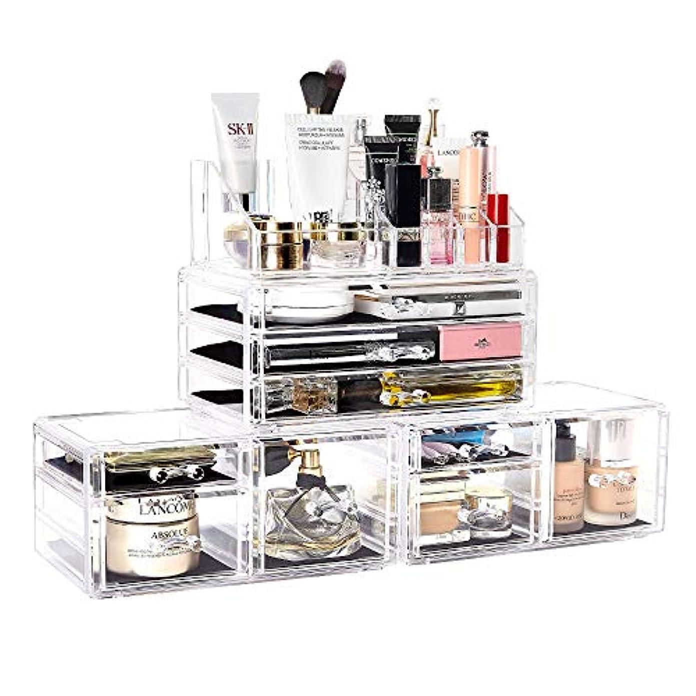 生産的スキャン花瓶メイクボックス DreamGenius 化粧品収納ボックス 高级感 引き出し 小物/化粧品入れ メイクケース 小物 収納 透明アクリル 4段 プレゼント (4セット)