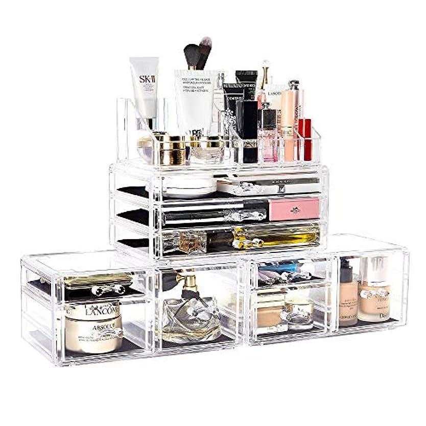 選択ことわざすべてメイクボックス DreamGenius 化粧品収納ボックス 高级感 引き出し 小物/化粧品入れ メイクケース 小物 収納 透明アクリル 4段 プレゼント (4セット)