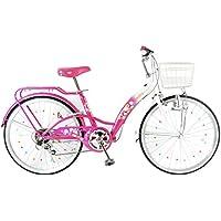 21Technology 【21テクノロジー】 子ども自転車 エミリア 女の子向け 22インチ シマノ6段変速 かわいいミラーベル 後輪サークル錠 ダイナモライト付き カラーサドル 適用身長目安120cmより EM226〕