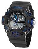 5 色 メンズ ダイバーズ LED ライト 多機能 腕 時計 デジアナ 防水 ストップウォッチ アラーム 耐衝撃 スポーツ アウトドア ウォッチ (ブルー)