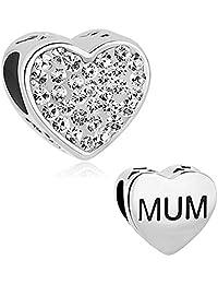 JewelryHouse Mum Charms Heart Love Simulated Crystal Bead Charms