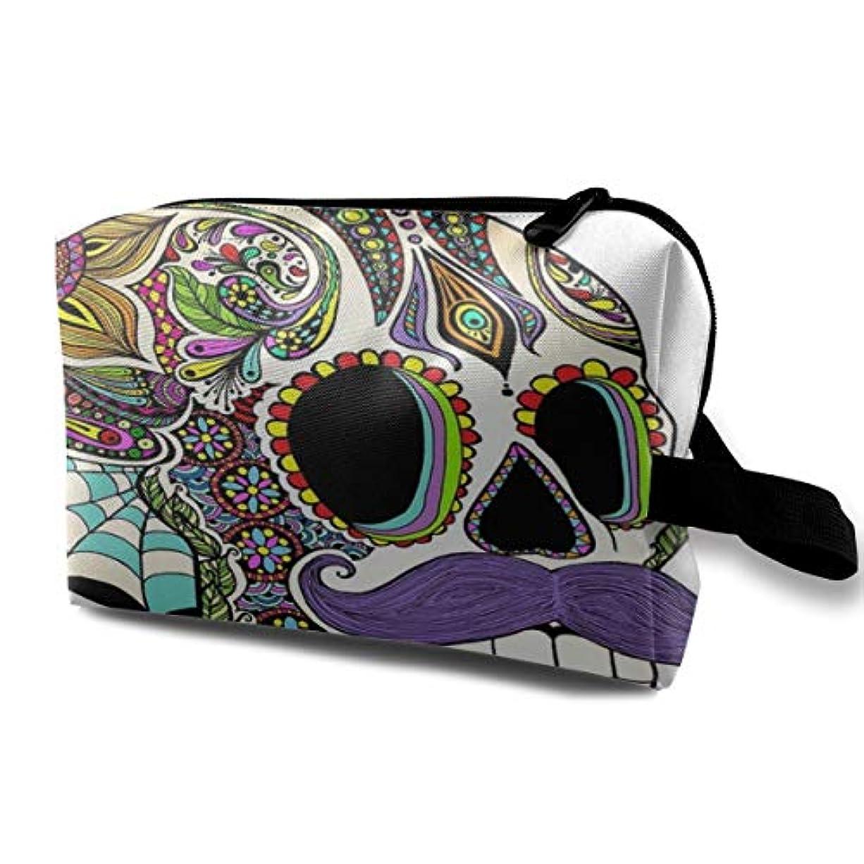 主張する人物変なColorful Aztec Skull Sugar Skull 収納ポーチ 化粧ポーチ 大容量 軽量 耐久性 ハンドル付持ち運び便利。入れ 自宅?出張?旅行?アウトドア撮影などに対応。メンズ レディース トラベルグッズ