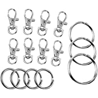 OUNONA 100pcs Swivel Clasps Silver Snap Hook Lobster Clasp with Keychain and Key Rings