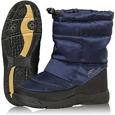 [フィールドア] スノーブーツ [XSサイズ/23~23.5cm] 【ネイビー】 軽量 暖か ダウン入り ボア素材 ドローコード調整 防水 撥水 雪 雨 防寒