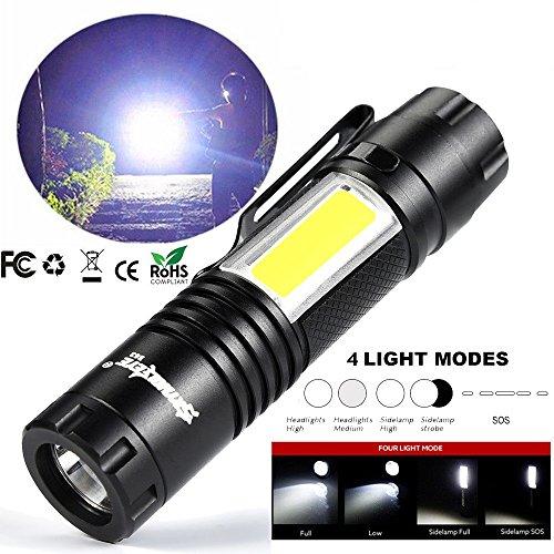 懐中電灯 hosam ledライト 強力 XM-L Q5+COB LED サイトライト 携帯便利 山登り ライト キャンプ 台風 地震 停電 対策 防災 非常用 14500/AA