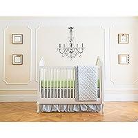 夏 幼児 4ピース クラシック 寝具セット 調節可能なベビーベッドスカート付き ガーデングレー