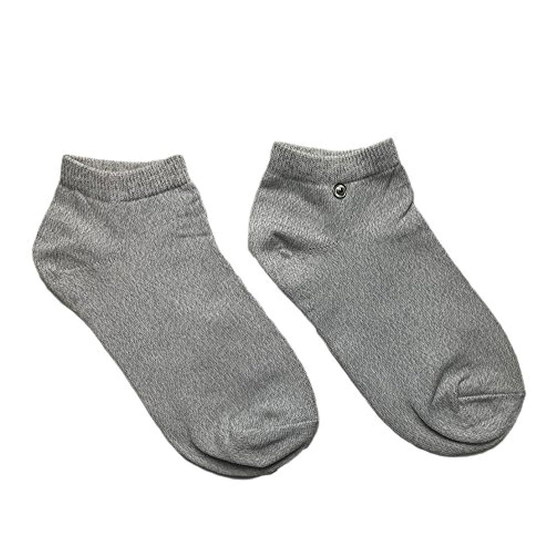 モックしっかりネズミriraku-life(??????) 大地と繋がるアーシング健康法用 アーシングソックス(low) 導電性靴下 (M)